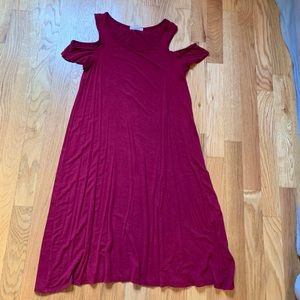 Maroon Cotton Swing Dress, Maurices XS